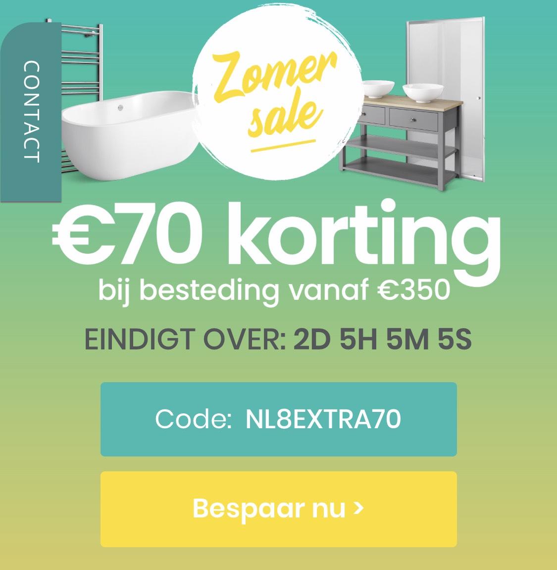 €70 korting bij €350, ook op afgeprijsde producten