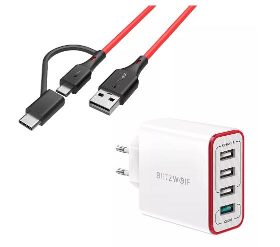 BlitzWolf BW-MT3 3A 2 in 1 Type C Micro USB Oplaadgegevenskabel + PL5 30W QC3.0 Fast Charging 2.4A 4-Ports USB EU-adapter