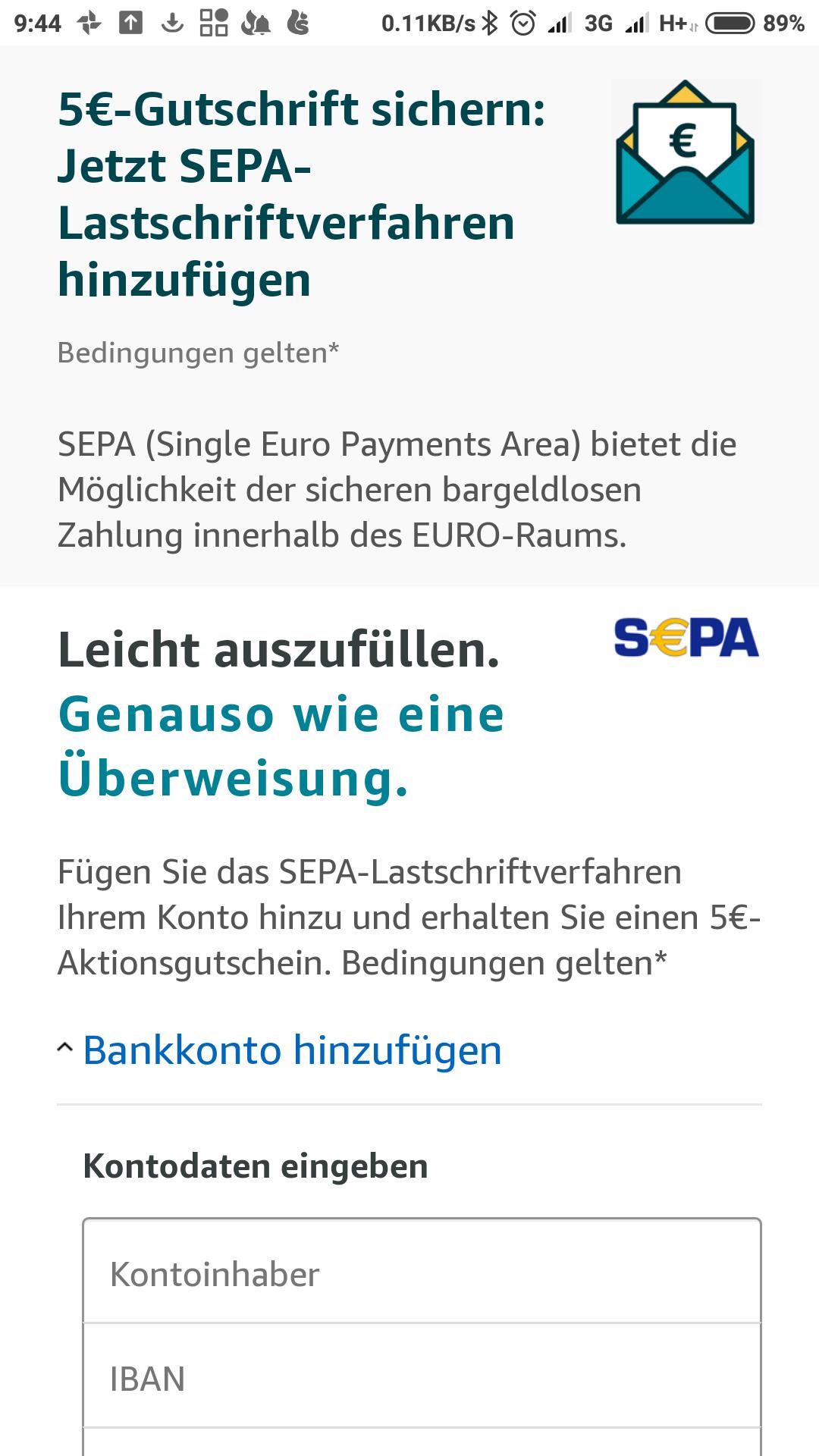 €5 kortingtegoed (bij besteding €25) bij SEPA/bank aanmelding @ Amazon.de