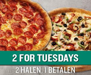 2e pizza gratis bij Papa Johns bij afhalen (elke dinsdag)