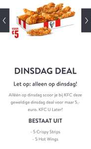 KFC dinsdag deal (5 strips + 5 wings)