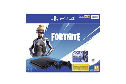 PlayStation 4 Slim (500GB, Jet Black) + 2 Controller: Fortnite Neo Versa Bundle