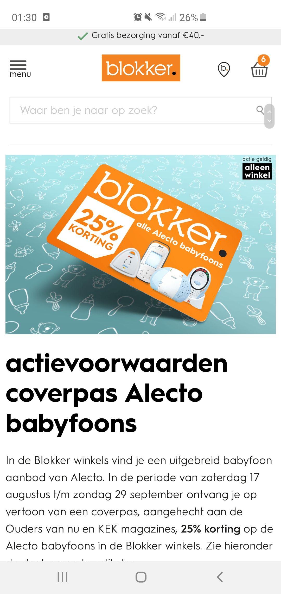 25% korting op Alecto babyfoons in Blokker winkels op vertoon van coverpas Ouders van Nu