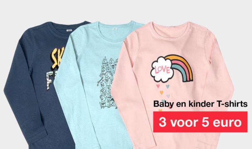 Actie: 3 baby / kids t-shirts voor €5 @ Zeeman