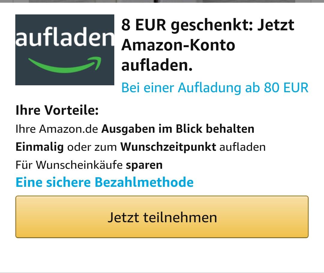 €8 bonus bij opladen van €80 Amazon tegoed @ Amazon.de