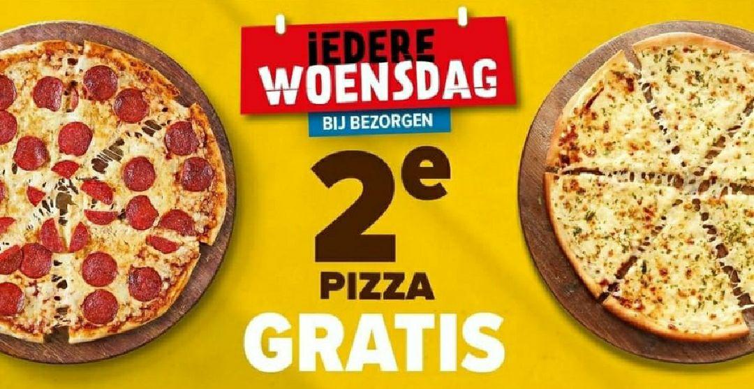 2de pizza gratis, bij bezorgen Domino's *Elke woensdag*
