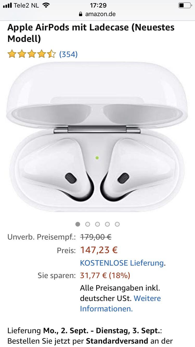 AirPods (incl. oplaadcase) voor €139 @ Amazon.de