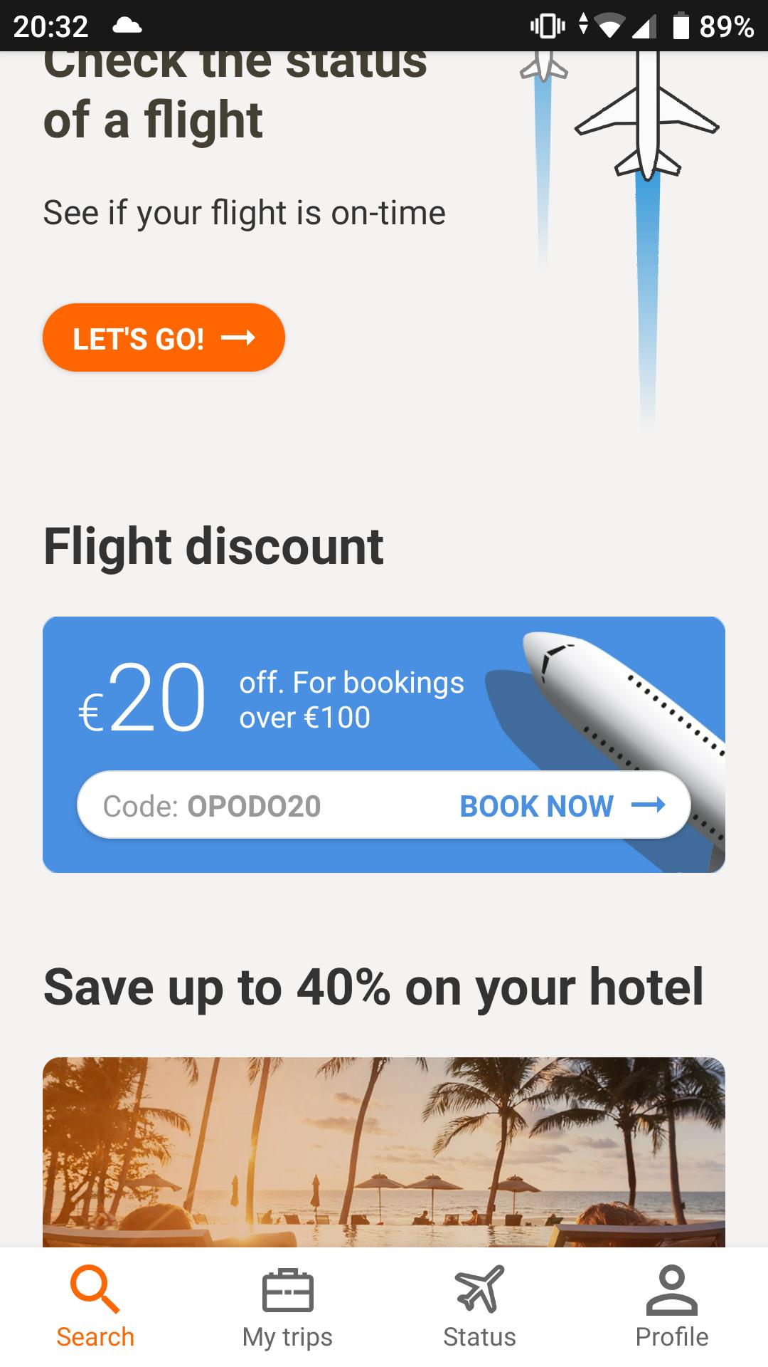20€ kortingscode voor Opodo bij een boeking vanaf 100€