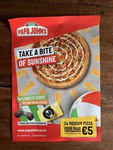Papa John's 2e Medium Pizza 5 euro
