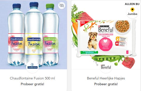 Scoupy: Gratis Chaudfontaine Fusion en Gratis Beneful Heerlijke Hapjes (@Jumbo), rijstwafels voor €0,50