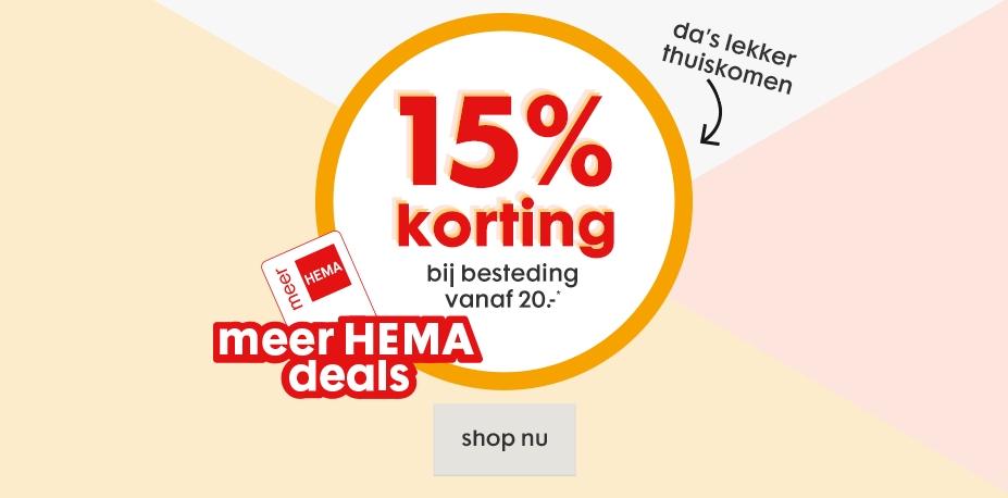 Met klantenpas 15% korting (va €20 - ook op sale) @ HEMA