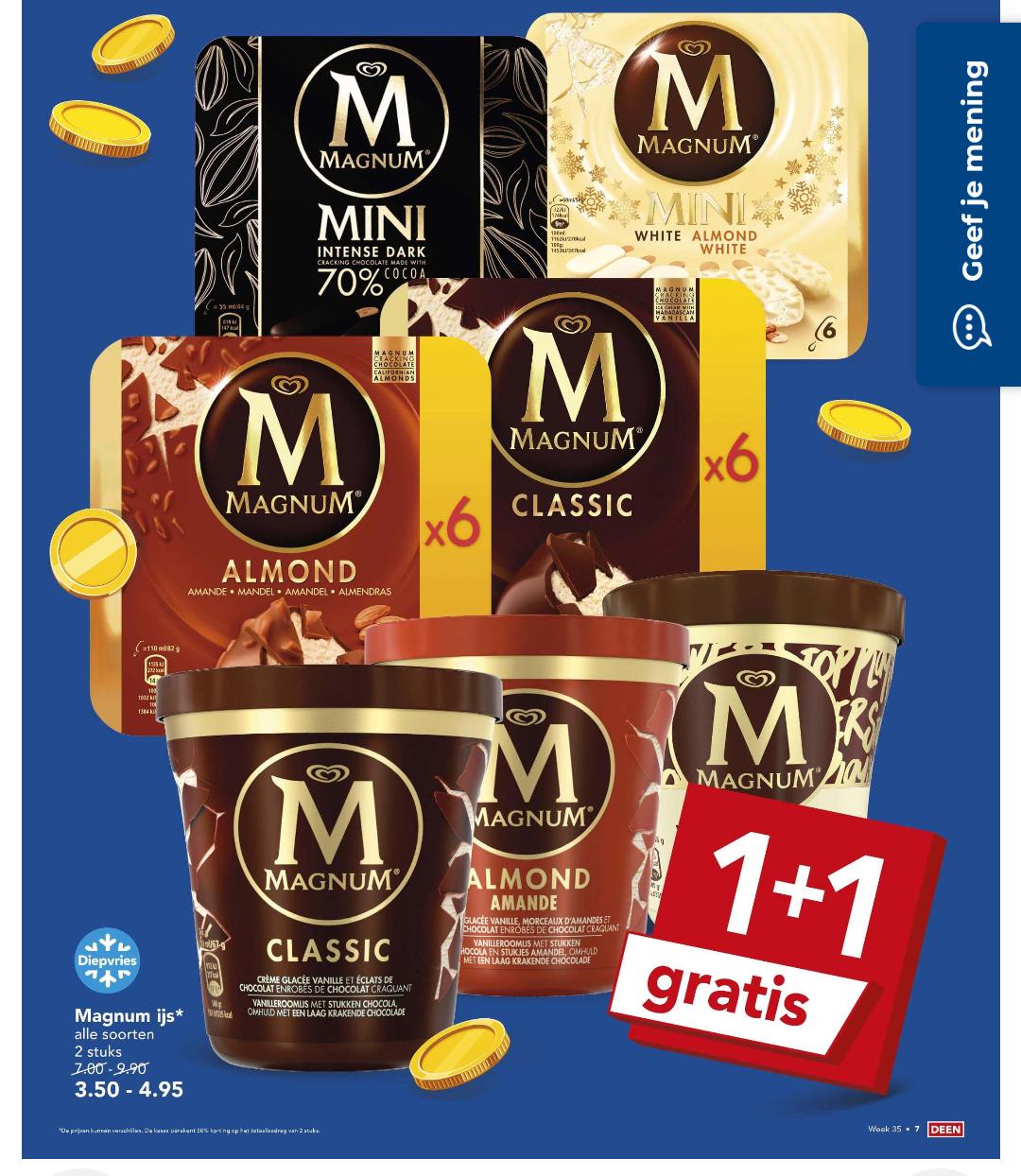 Magnum 1+1 gratis bij Deen & Plus
