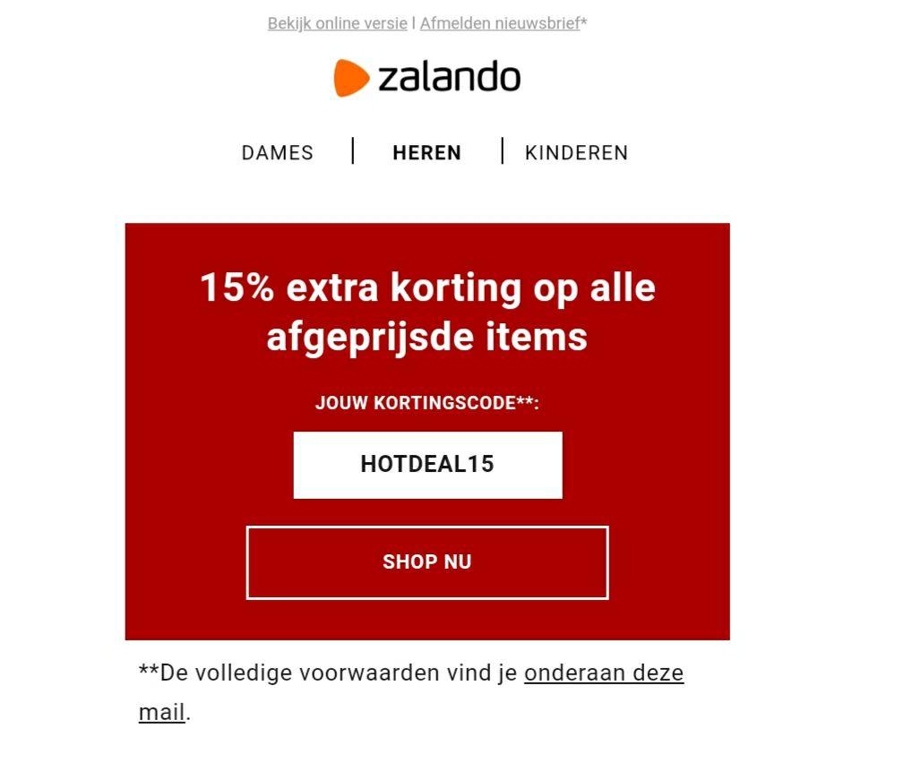 15 procent extra korting op sale artikelen bij Zalando