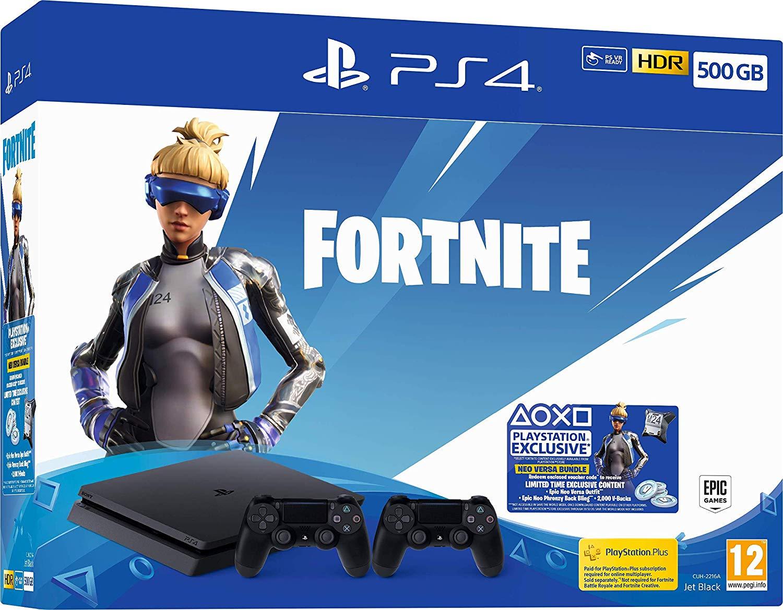 PlayStation 4 Slim (500GB) Fortnite Neo Versa Bundel met 2x Controller @ Amazon.de