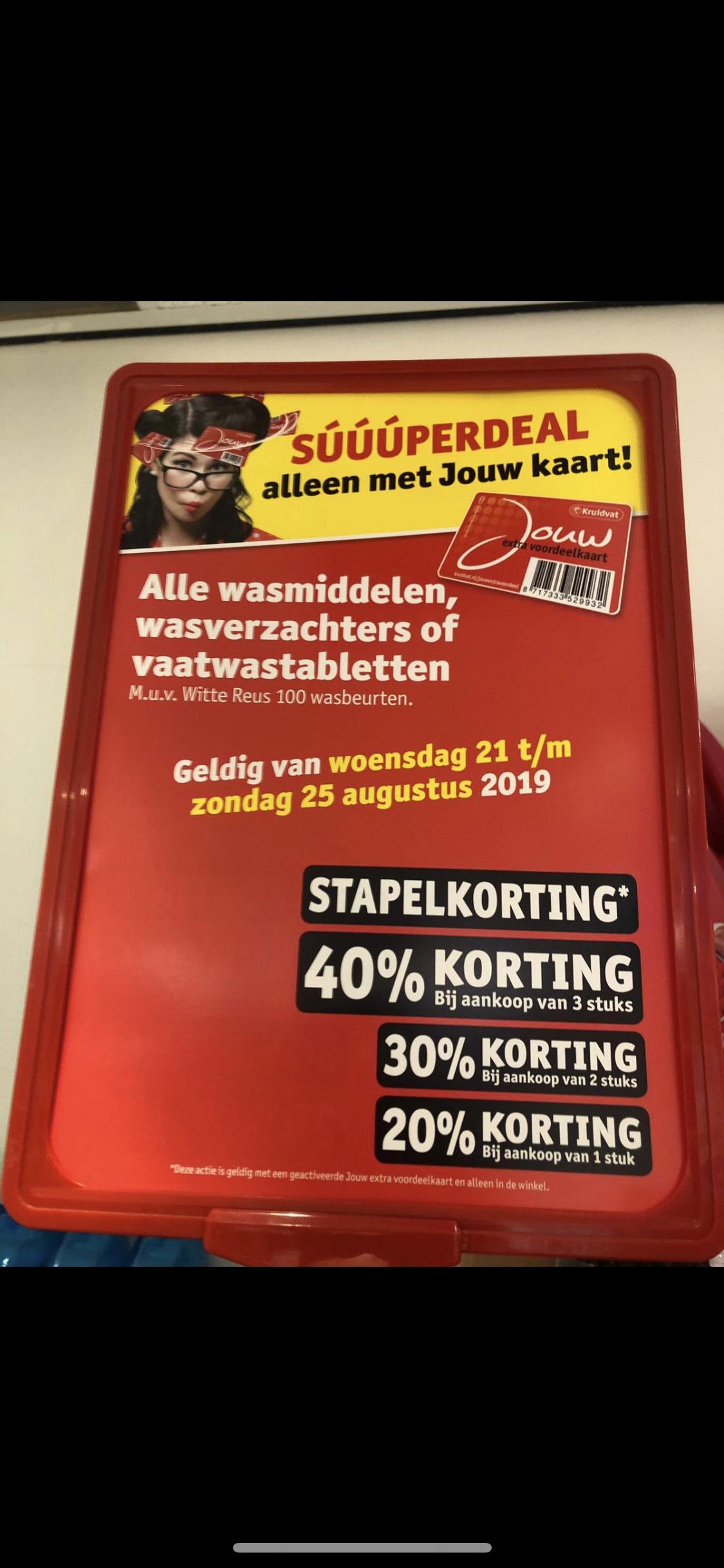 Tot 40% korting op alle wasmiddelen/verzachters en vaatwastabletten