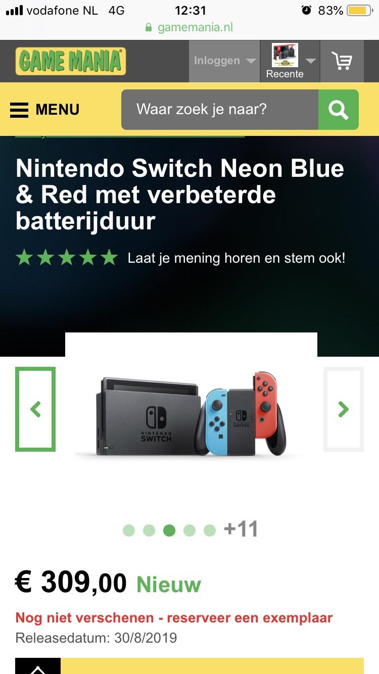 Nintendo Switch Neon Blue & Red met verbeterde batterijduur