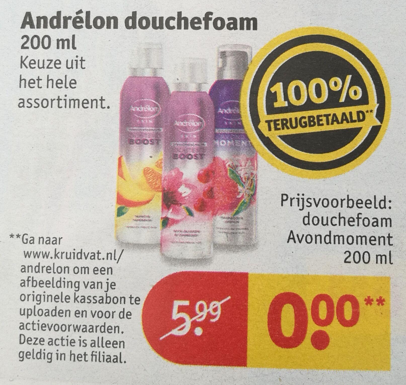 Gratis Douchefoam Andrelon @ Kruidvat