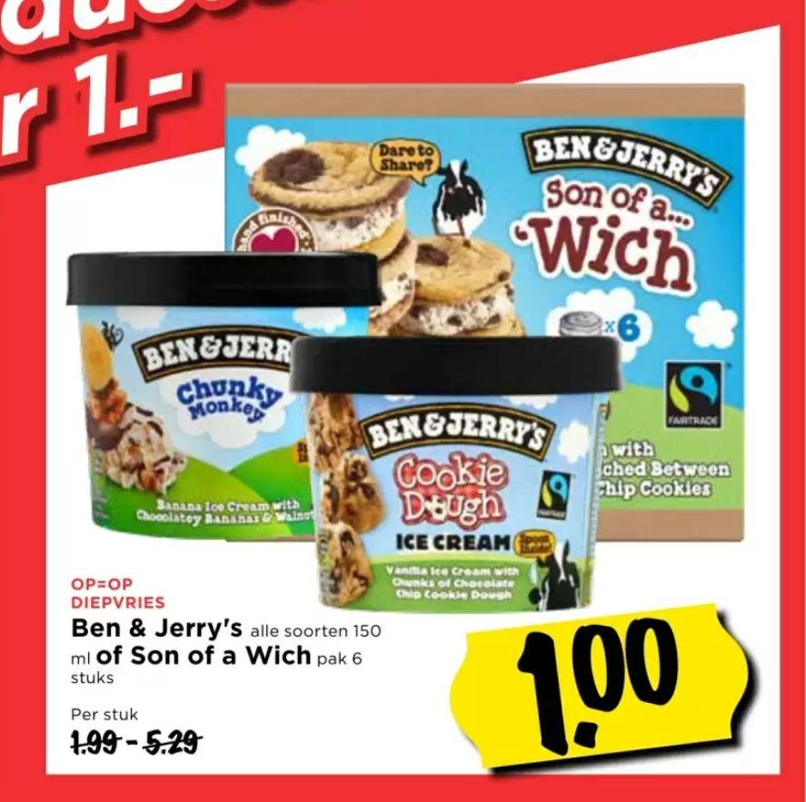 Ben & Jerry's alle soorten 150 ml of Son of a Wich (6 stuks) voor €1 @Vomar