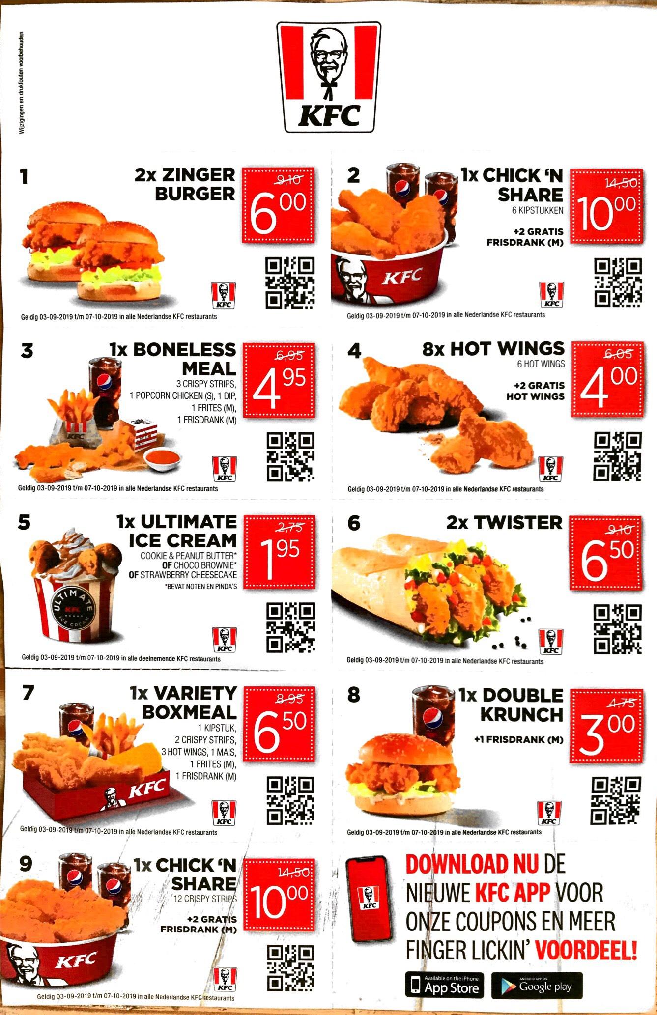 KFC kortingscoupons en Goodies + truc voor 10% extra korting @KFC