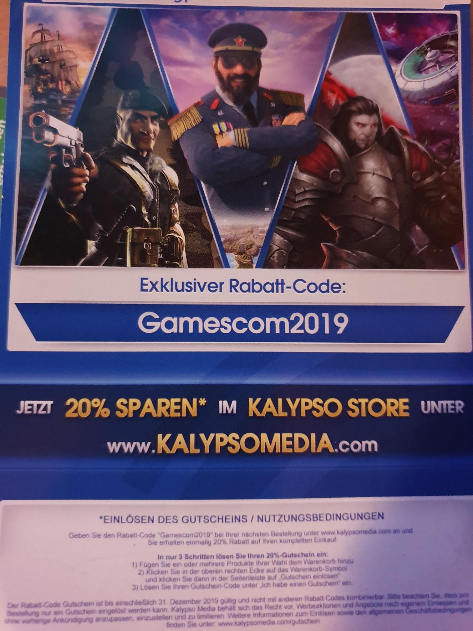20% korting bij Kalypso