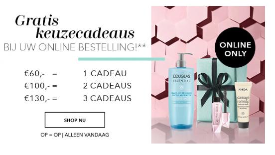 Douglas Ontvang alléén vandaag extra beauty keuzecadeaus** bij uw online bestelling gratis