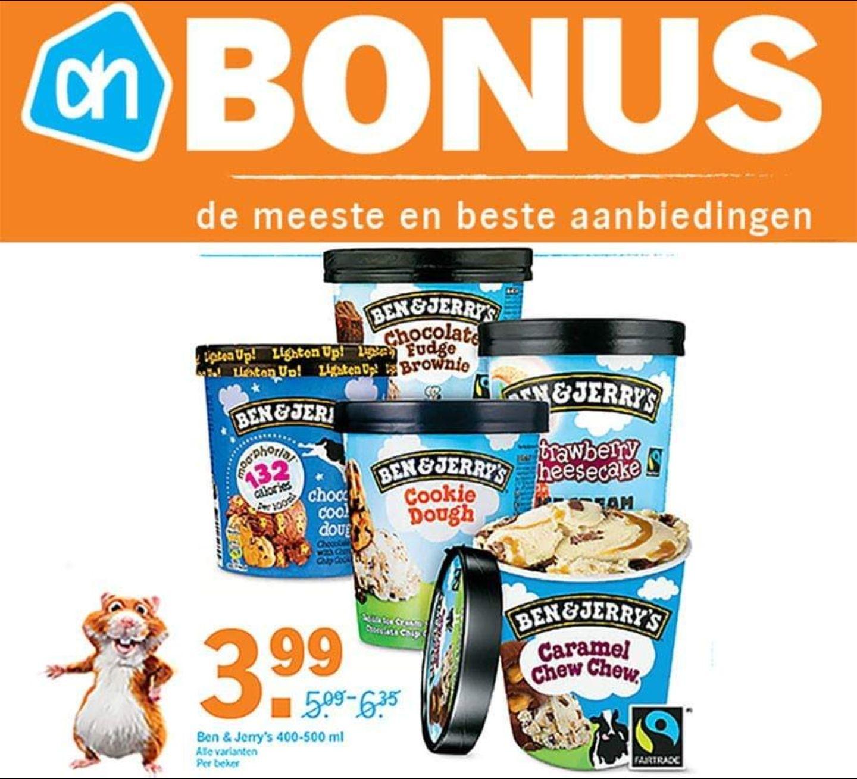 Alle varianten Ben & Jerry's €3,99 @ AH