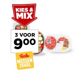 Kies & Mix barbecue3 bakjes vlees, vis, vega of groente met de sticker 'kies & mix 3 voor 9,00'3 voor 9,00
