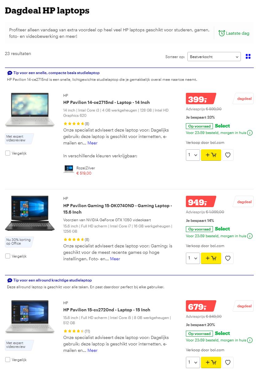 Dagdeal Bol.com: Extra veel voordeel op HP Laptops