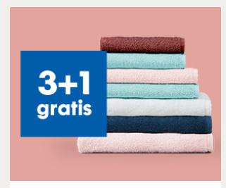 alle handdoeken, badmatten en strandlakens 3+1 gratis bij HEMA
