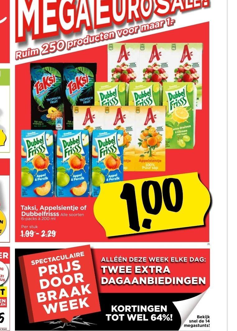 Pakjes drinken 6-packs à 200ml €1 @ Vomar