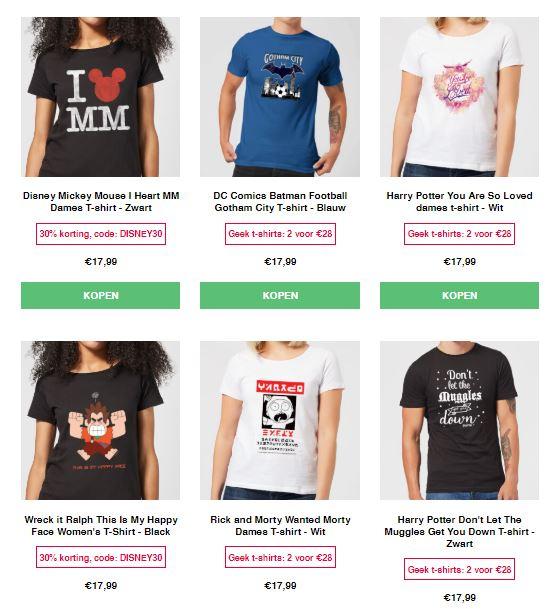 Actie: 3 T-shirts €27 (o.a. Nintento / Marvel / Disney etc) @ Zavvi