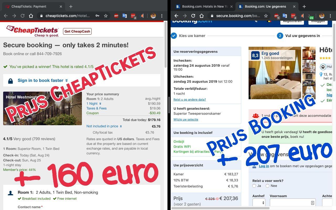 Vakantietip: vergelijk de prijzen van Booking.com met CheapTickets.com