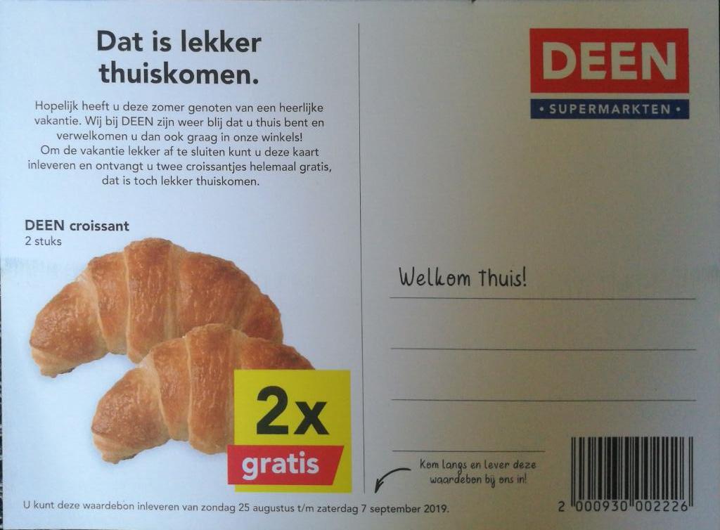 2 gratis croissantjes @deen