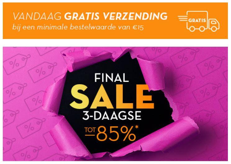 Final SALE + gratis verzending t.w.v. €3,95 (va €15) + €10 extra @ Limango