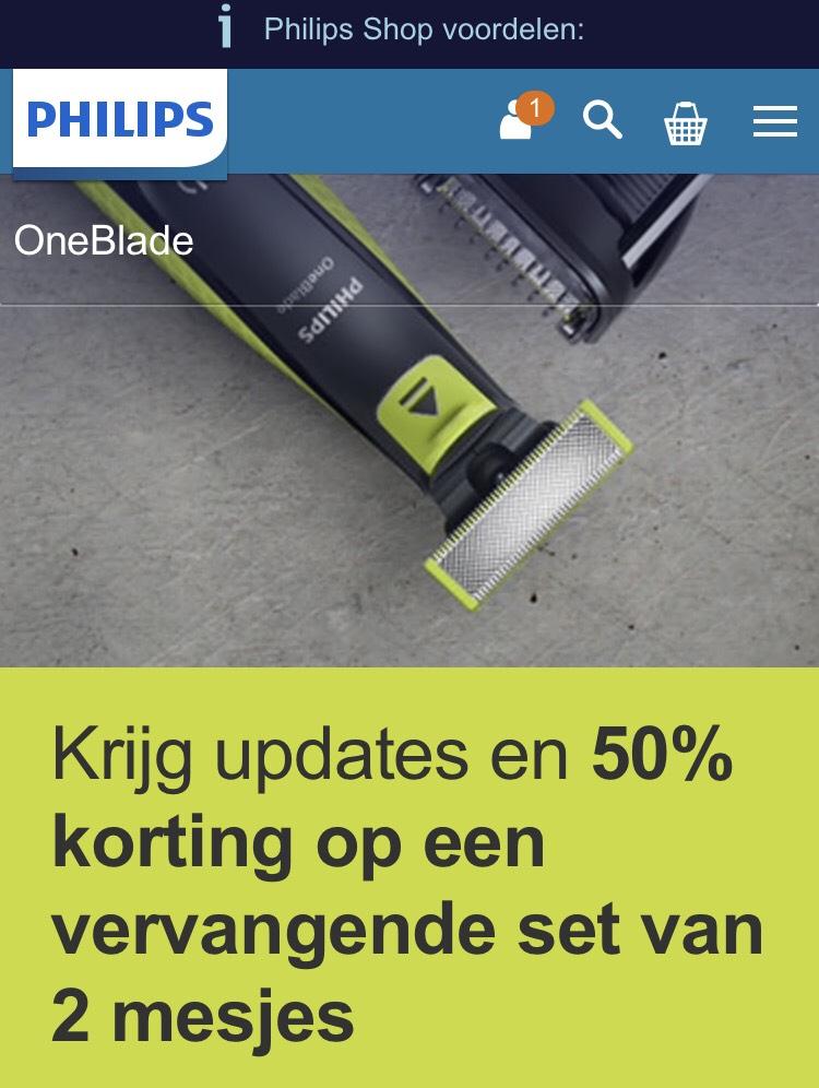 50% korting op Philips Oneblade mesjes