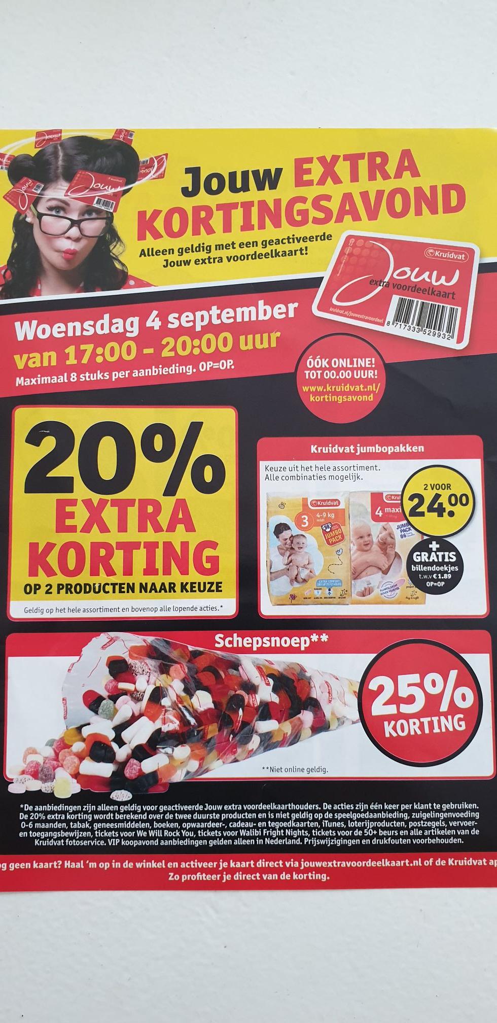 Kruidvat koopavond - 20% extra korting