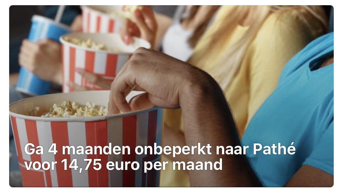 Ga 4 maanden onbeperkt naar Pathé voor 14,75 € per maand = 59 €