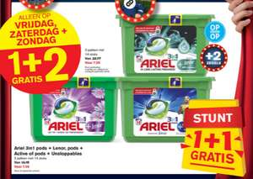 Ariel pods 1+2 gratis bij Hoogvliet