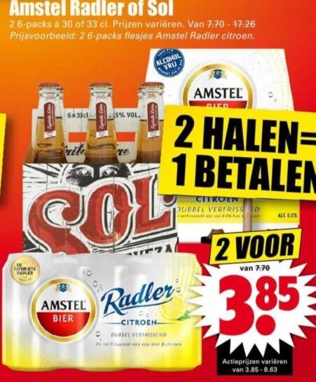 Sol mexicaans bier 2x 6-pack voor €3,85 bij Dirk!