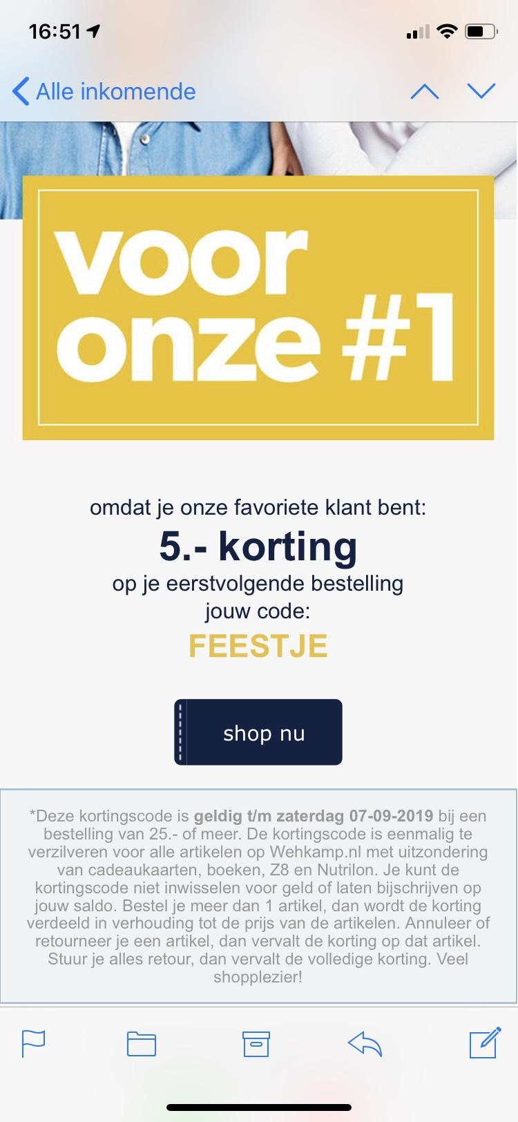 5 euro korting Wehkamp v/a 25,-