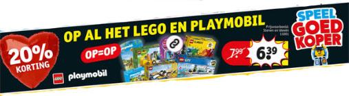 Lego + Playmobil 20% korting @ Kruidvat