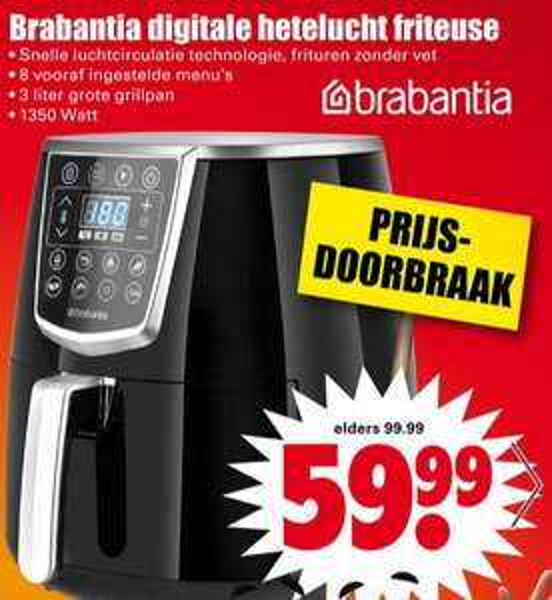 Brabantia Digitale heteluchtfriteuse @ Dirk