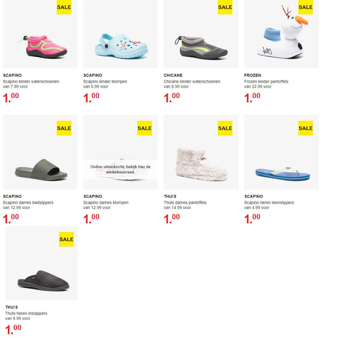 Diverse laatste maten schoenen / sloffen / slippers €1 @ Scapino