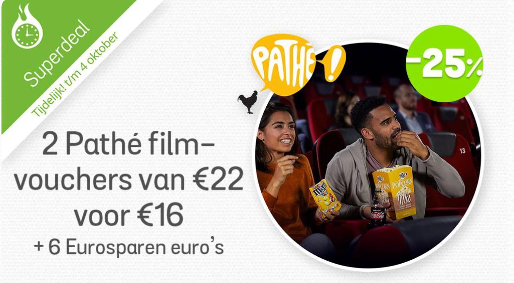 2 Pathé Film vouchers voor € 16,00 + 6,00 Eurosparen-euro's@eurosparen