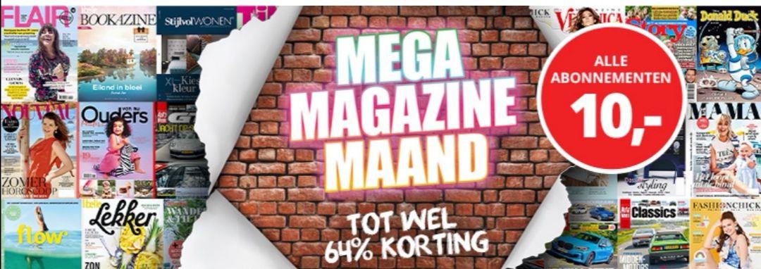 Mega Megazine Maand! Alle abonnementen voor € 10. Tot wel 64% korting op veel verschillende titels.