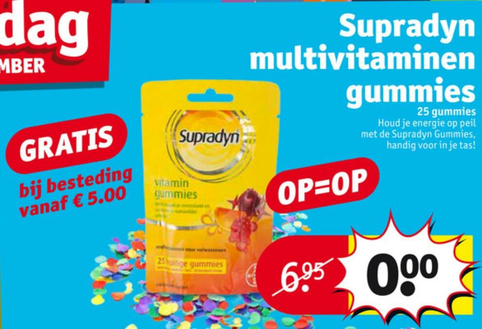 Gratis Supradyn Vitamin Gummies t.w.v. €6,95 bij besteding van €5 @ Kruidvat