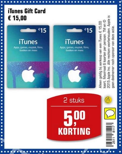 2 X 15 euro iTunes Gift Card voor 25,00 @ Primera