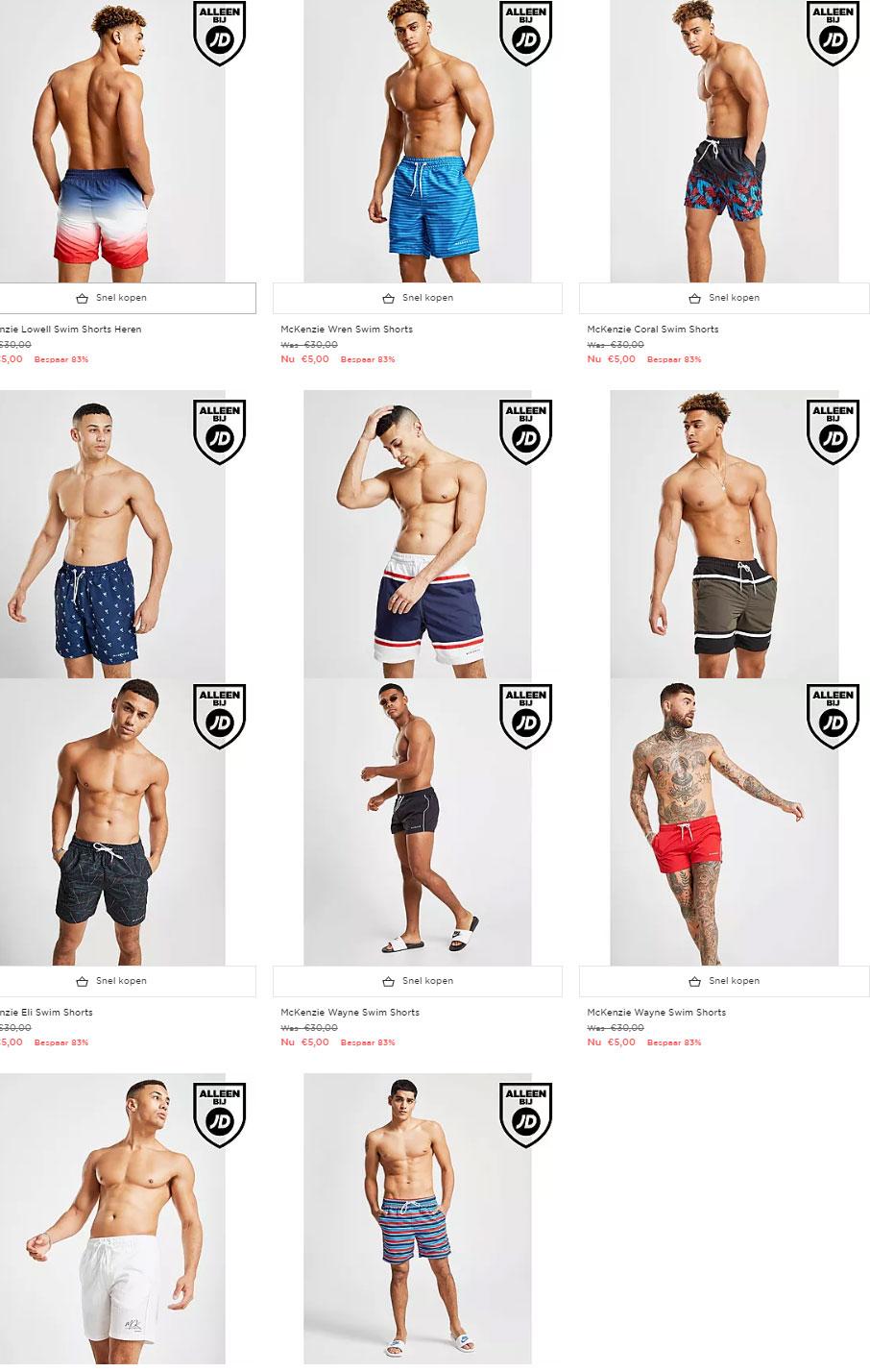 Heren zwemshorts -83% + gratis verzending @ JD Sports