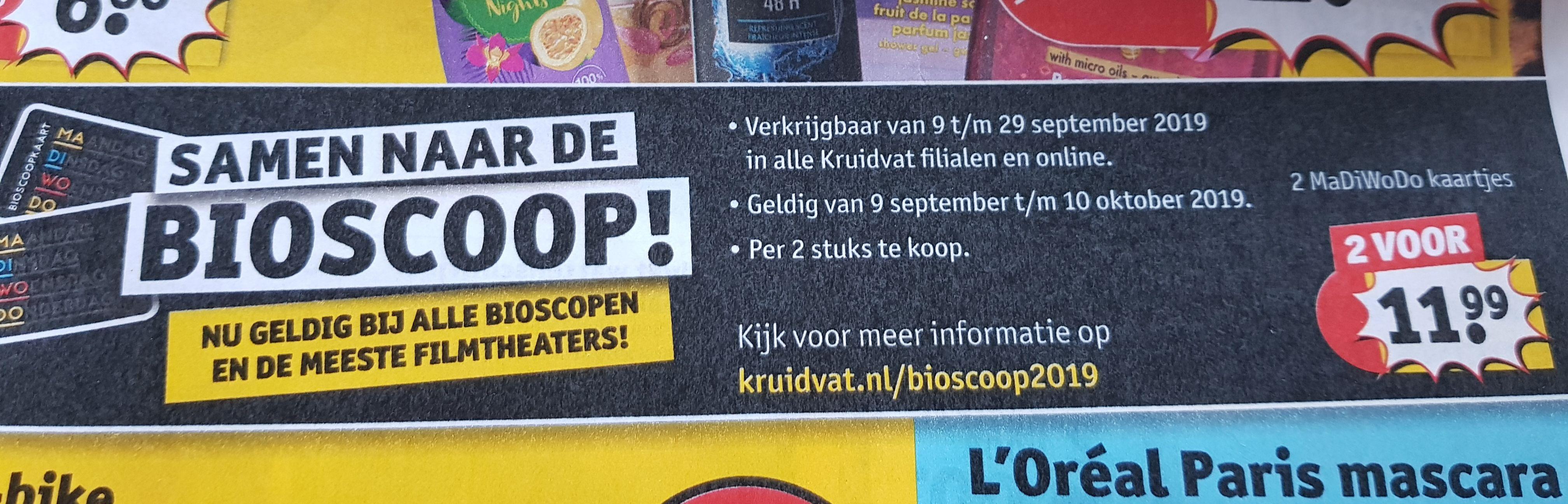 Voor nog geen 12 euro met z'n tweeën naar de bioscoop op MaDiWoDo!