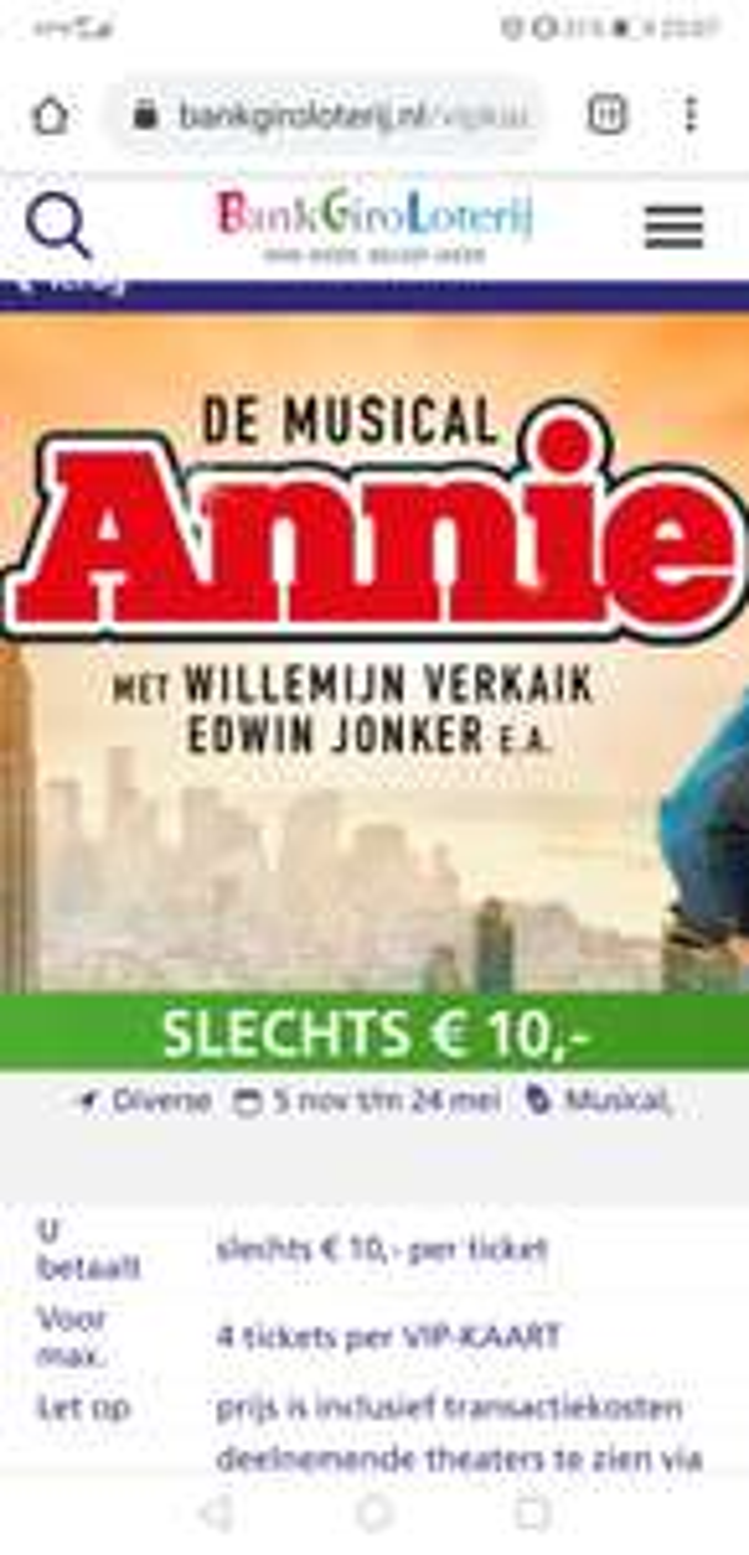 1E RANG kaartjes voor musical 'Annie' met bankgiro loterij VIP kaart